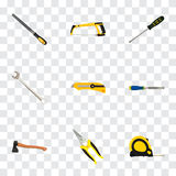Realistic Carpenter, Sharpener, Chisel And Other Vector Elements. Set Of Tools Realistic Symbols Also Includes Tape, Axe stock illustration