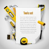 Realistic carpenter tools background frame stock illustration