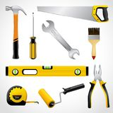 Realistic carpenter tools icons collection Stock Images