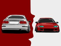 Realistic cars cartoon vector illustration art in wide screen ratio stock images