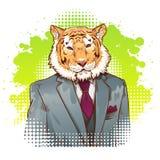 Realistic cartoon tiger wearing a tuxedo Stock Image