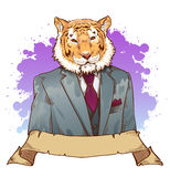 Realistic cartoon tiger wearing a tuxedo Stock Photography