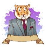 Realistic cartoon tiger wearing a tuxedo Stock Photography