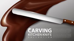 Realistic Carving Kitchen Knife Concept. With sharp blade and wooden handle on chocolate splash background vector illustration Stock Photos