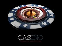 Realistic casino gambling roulette wheel with chip. 3d play chance luck roulette wheel illustration. Realistic casino gambling roulette wheel with chip. 3d play vector illustration
