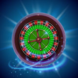 Realistic casino gambling roulette wheel. Cover background. Stock Image
