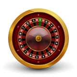 Realistic casino gambling roulette wheel isolated on white background. Vector play chance luck roulette wheel illustration.  Royalty Free Stock Photography