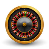 Realistic casino gambling roulette wheel isolated on white background. Vector play chance luck roulette wheel illustration Royalty Free Stock Image