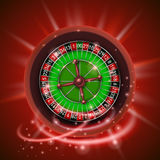 Realistic casino gambling roulette wheel,  on red background. Royalty Free Stock Image