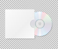 Realistic cd with cover. Close up of a cd dvd disc.Blank compact disk with cover mock up template  on transparent backgrou Stock Photography