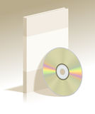 Realistic CD disk and plastic box with soft shadow stock illustration