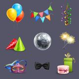 Realistic Celebration Icons. Set with balloons party ball and holiday gift boxes isolated vector illustration Stock Images