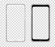 Realistic Cellphone Smartphone Vector of Touchscreen Android Phone frame Device. On a transparent Grid - fictitious generic design - Ideal to simply add your stock illustration
