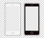 Realistic Cellphone Smartphone Vector of Touchscreen Phone frame Device. On a transparent Grid - fictitious generic design - Ideal to simply add your own image stock illustration