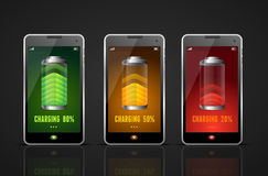 Realistic Charging Batteries Phone Set. Vector Royalty Free Stock Image