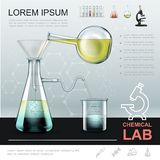 Realistic Chemical Experiment Template. With liquid pouring from bottle to glass flask and moving to beaker on molecular structure background vector royalty free illustration