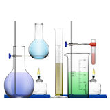 Realistic Chemical Laboratory Equipment Set. Glass Flasks, Beakers, Spirit Lamps Stock Photos
