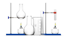Realistic Chemical Laboratory Equipment Set. Glass Flasks, Beakers, Spirit Lamps Royalty Free Stock Photos