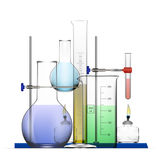 Realistic Chemical Laboratory Equipment Set. Glass Flasks, Beakers, Spirit Lamps Royalty Free Stock Image
