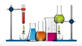 Realistic Chemical Laboratory Equipment Set. Glass Flasks, Beakers, Spirit Lamps Stock Images
