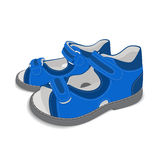 Realistic child sandals on white background-02. Realistic blue child sandals on white background. EPS 10.  Used: blend, transparency, blend mode Royalty Free Stock Images