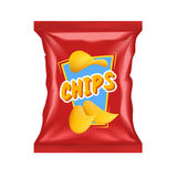 Realistic Chips Package. Realistic red chips package with snack label with shadows and highlights vector illustration royalty free illustration