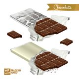 Realistic chocolate bar with bite wrapped in foil and the plastic cover. Bitten chocolate pieces.  Royalty Free Stock Photos