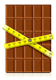 Realistic chocolate with measure tape Royalty Free Stock Image