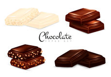 Realistic Chocolate Types Set Royalty Free Stock Photography