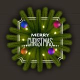 Realistic Christmas background. Frame of Christmas tree branches. With a garland of lights and shiny balls. Eps 10 Royalty Free Stock Photography