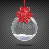 Realistic Christmas Ball Vector. Shiny Glass Xmas Holidays Tree Toy With Snowflake And Red Bow.  On Transparent. Realistic Christmas Ball Vector. Shiny Glass Stock Photo