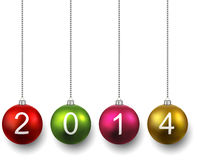 Realistic christmas balls with 2014. Colorful christmas balls. New year illustration. 2014 vector illustration