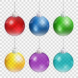 Realistic Christmas balls in different colors hanging on transparent background. Stock Images