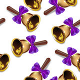Realistic christmas bells seamless  background, purple ribbon, periodic pattern. Royalty Free Stock Image