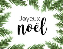 Realistic christmas frame with fir. Joyeux noel french typography lettering pine tree decoration border card. Realistic christmas frame with fir. Joyeux noel Stock Images