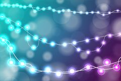 Realistic Christmas lights decorations on cyan and purple background. For greeting cards. Vector illustration royalty free illustration