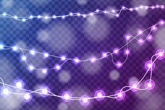 Realistic Christmas lights decorations set isolated on transparent blue and purple background. For greeting cards. Vector illustration Stock Photo