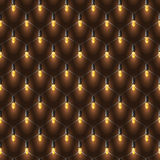 Realistic Christmas net lights garland. Golden shine on the dark. Vector realistic Christmas net lights garland. Golden shine on the dark brown background Royalty Free Stock Photo