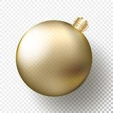 Realistic Christmas or New Year transparent Bauble, spheres or balls in metallic golden color with gold decorative cap. And shadow. Vector illustration eps10 royalty free illustration