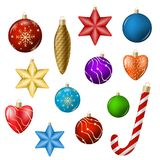 Realistic Christmas toys isolated on white vector illustration. Realistic Christmas toys in different colors and shapes isolated on white vector illustration Royalty Free Stock Images