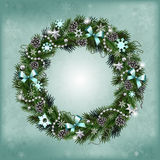 Realistic Christmas wreath of fir branches Royalty Free Stock Photo