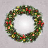 Realistic Christmas wreath of fir branches. Realistic wreath of fir branches with elements for Christmas and New Year design: snowflakes, branches, pine cones Royalty Free Stock Image