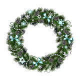 Realistic Christmas wreath isolated от white background. Realistic wreath of fir branches isolated on white background. Christmas and New Year design elements Royalty Free Stock Photo