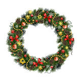 Realistic Christmas wreath isolated от white background. Realistic wreath of fir branches isolated on white background. Christmas and New Year design elements Royalty Free Stock Photos