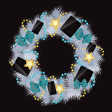 Realistic christmas wreath wiTh phones and tablets Royalty Free Stock Photos
