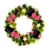 Realistic christmas wreath wiTh phones and tablets Royalty Free Stock Images