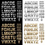 Chrome and Gold effect alphabet font with letters and numbers, bold style text vector illustration. Realistic chrome and gold style effect alphabet font with vector illustration