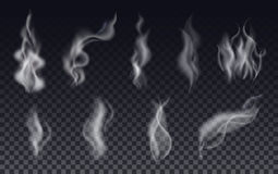 Realistic cigarette smoke waves or steam on transparent background. Vector Set vector illustration