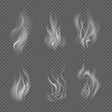 Realistic cigarette smoke waves on transparent checkered background. Vector illustration Stock Photos