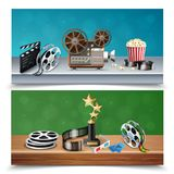 Realistic Cinema Banners Set. Realistic colorful set of two horizontal cinema banners with trophy reels clapboard camcorder popcorn bucket tickets isolated Stock Photography